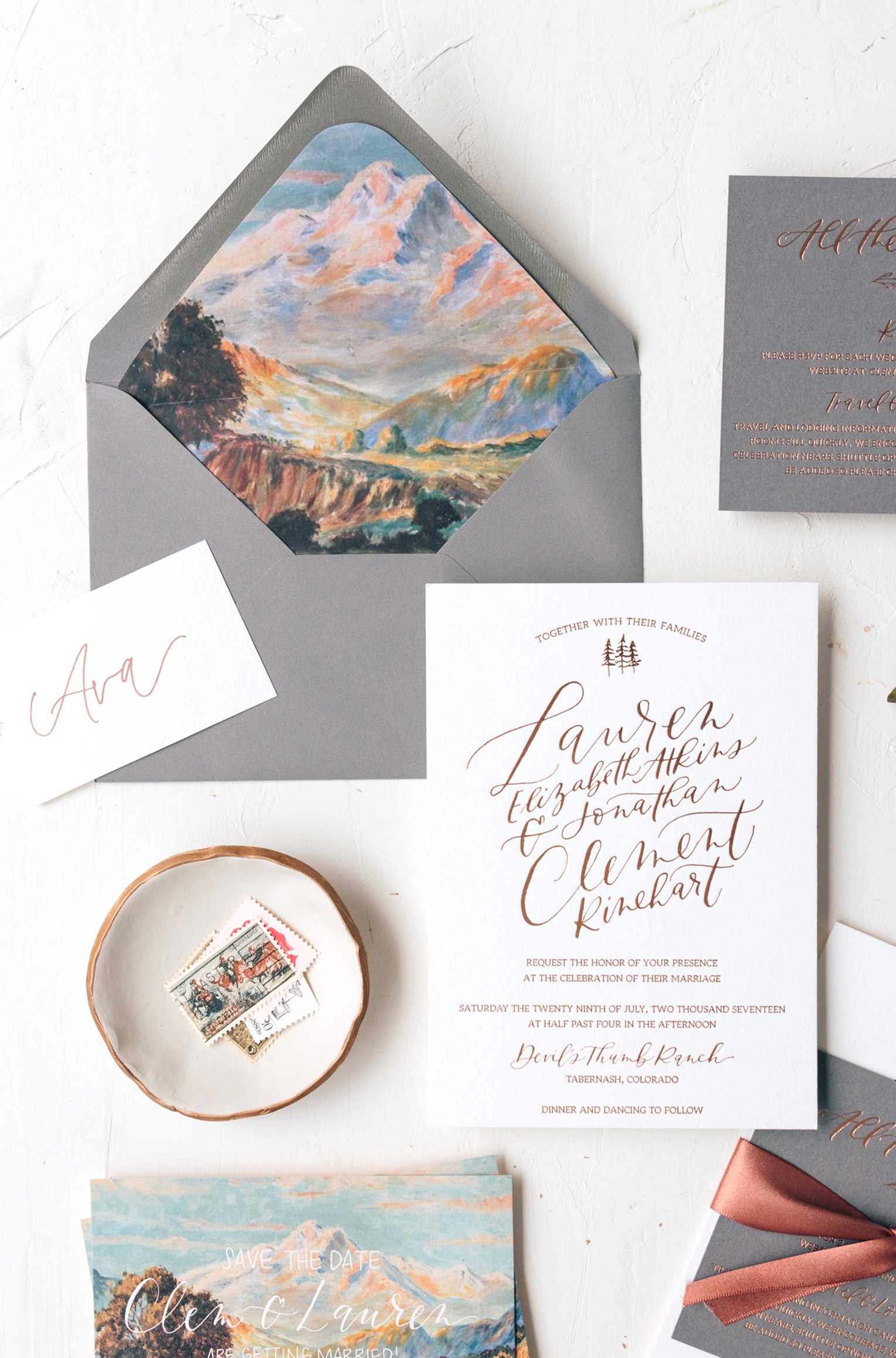 Modern Mountain Wedding Invitation