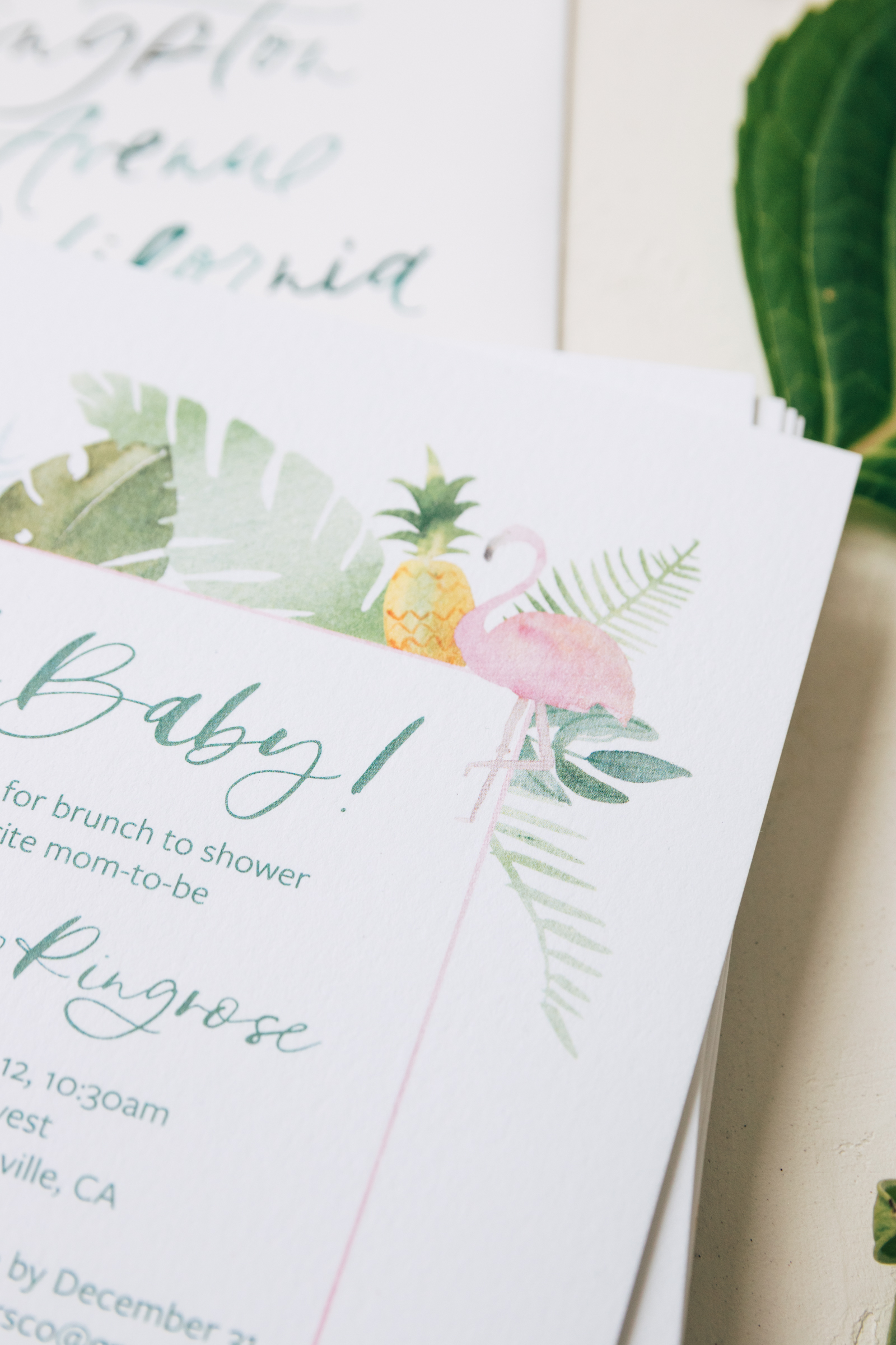 Watercolor Flamingo Baby Shower Invitation