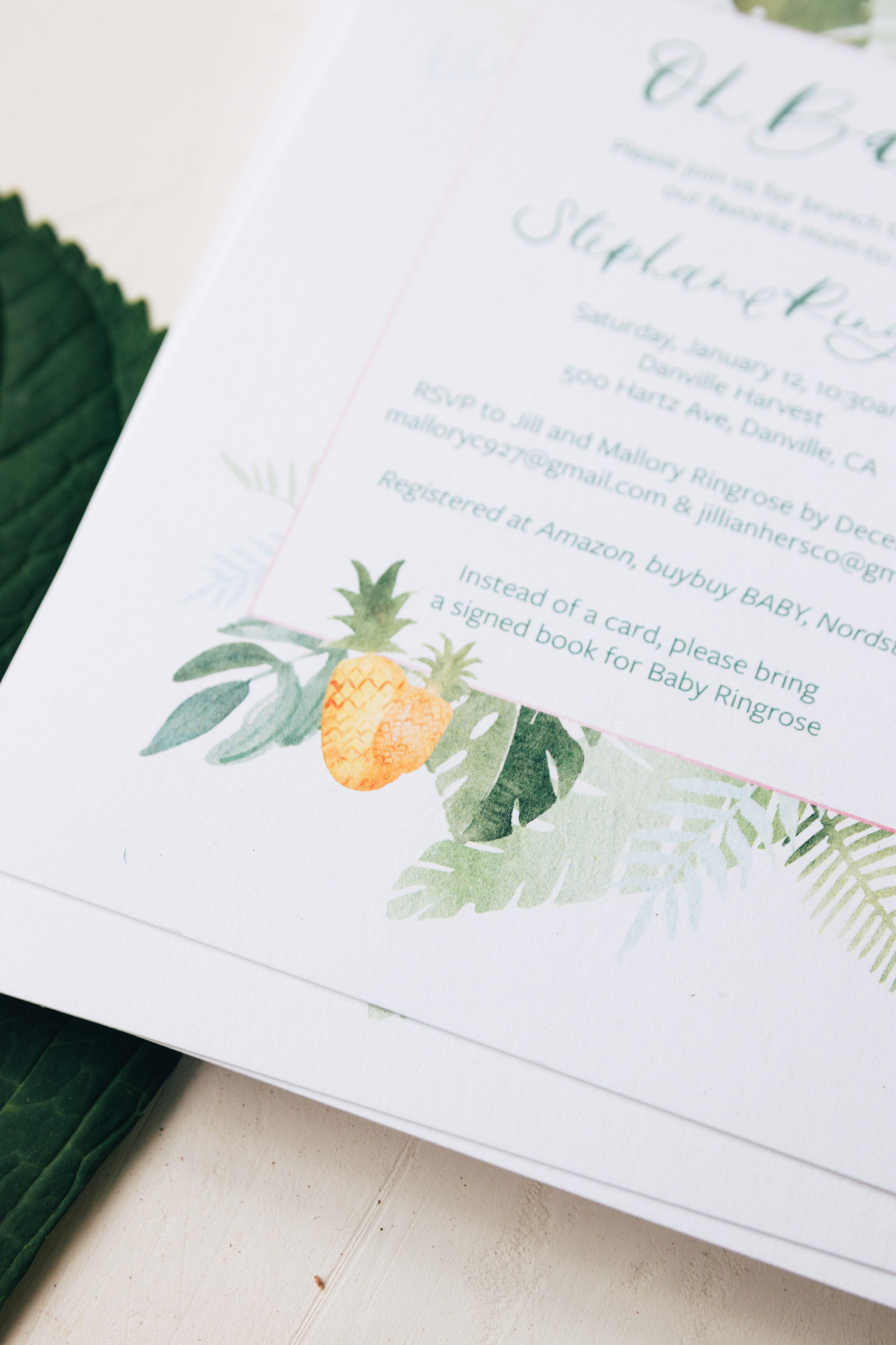 Watercolor Tropical Baby Shower Invitation