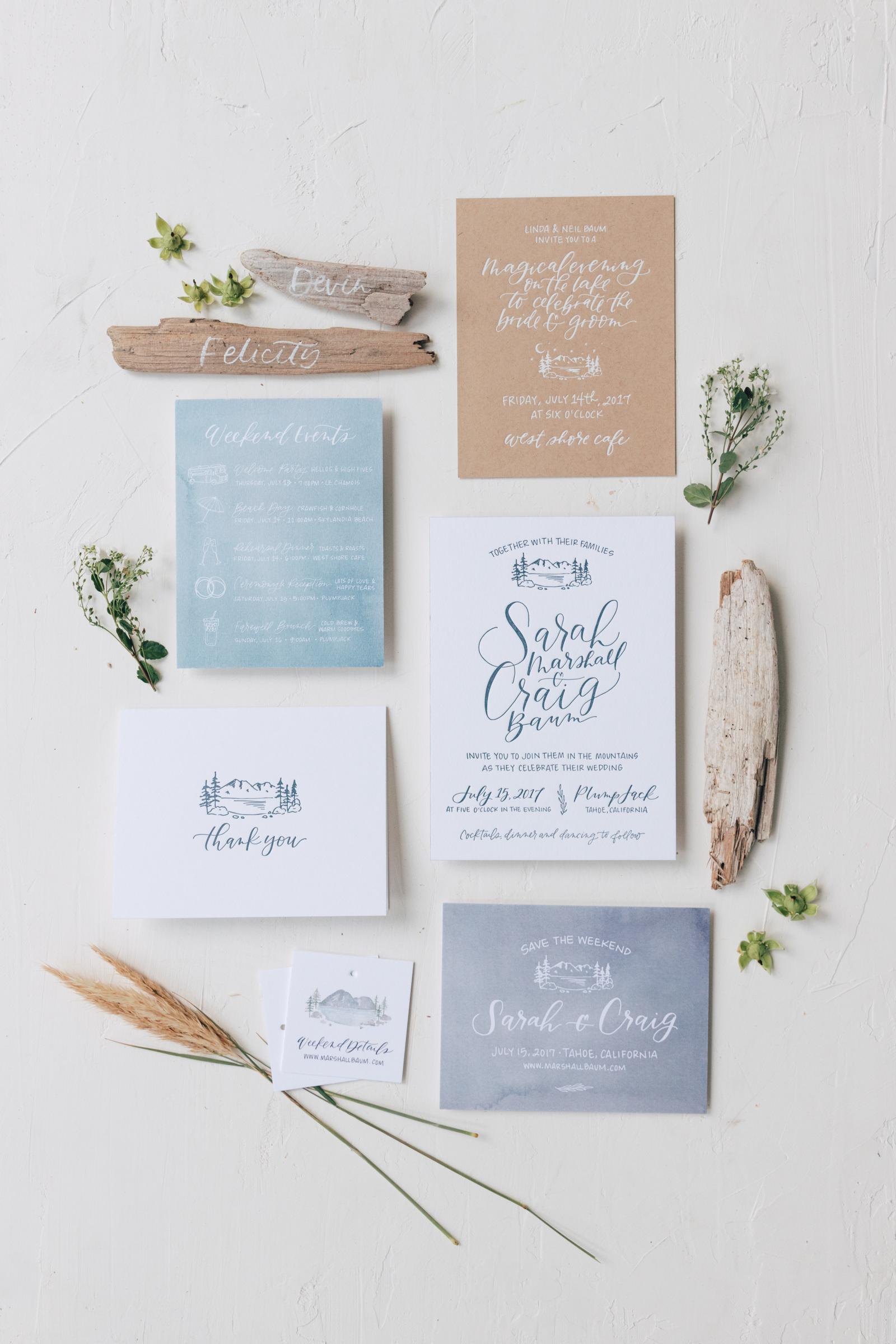 Rustic Lake Tahoe Watercolor Wedding Invitations