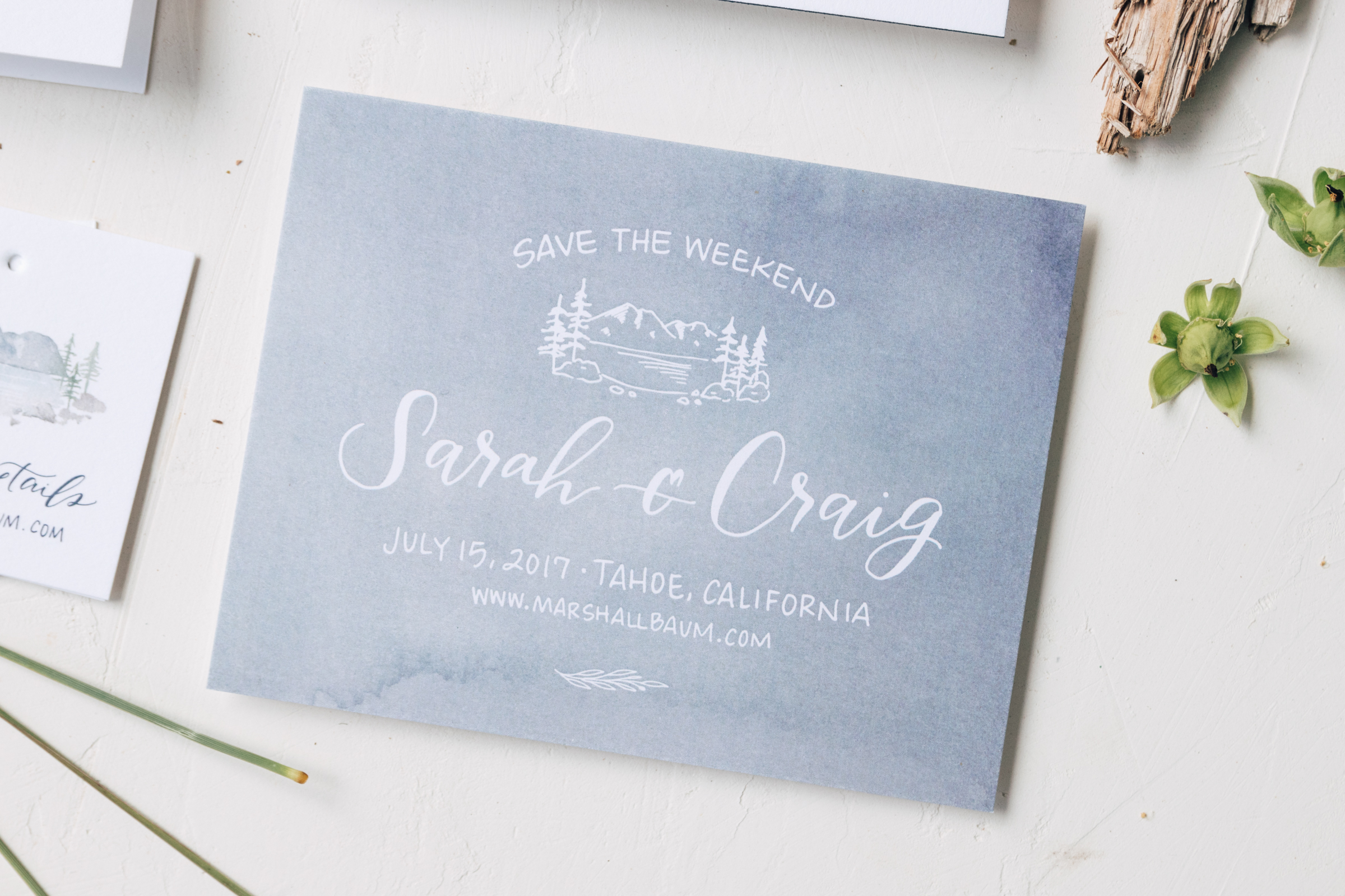 Watercolor Save the Date for Lake Tahoe Wedding