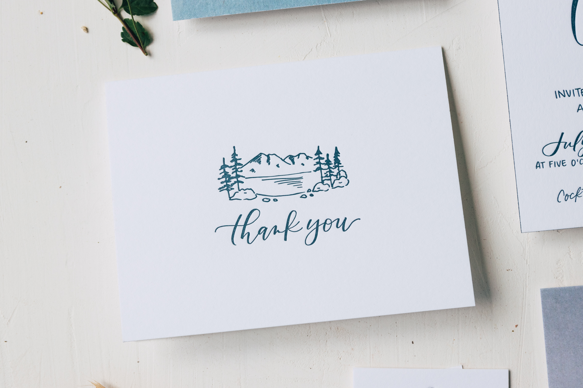 Illustrated Thank You Card for Tahoe Wedding