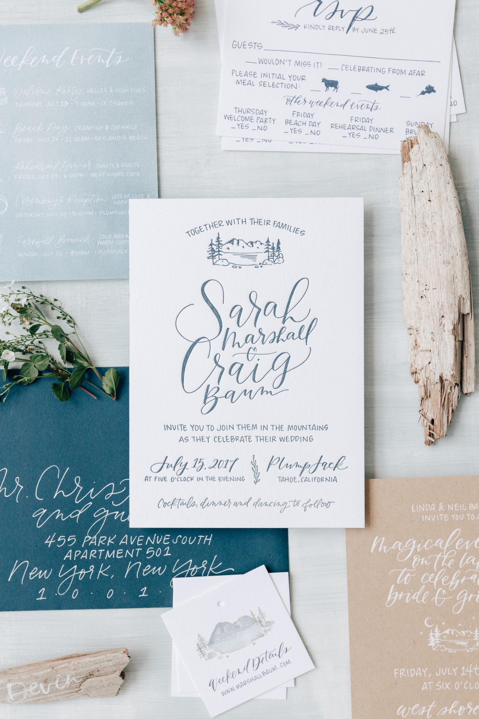 Lake Tahoe Rustic Wedding Invitation