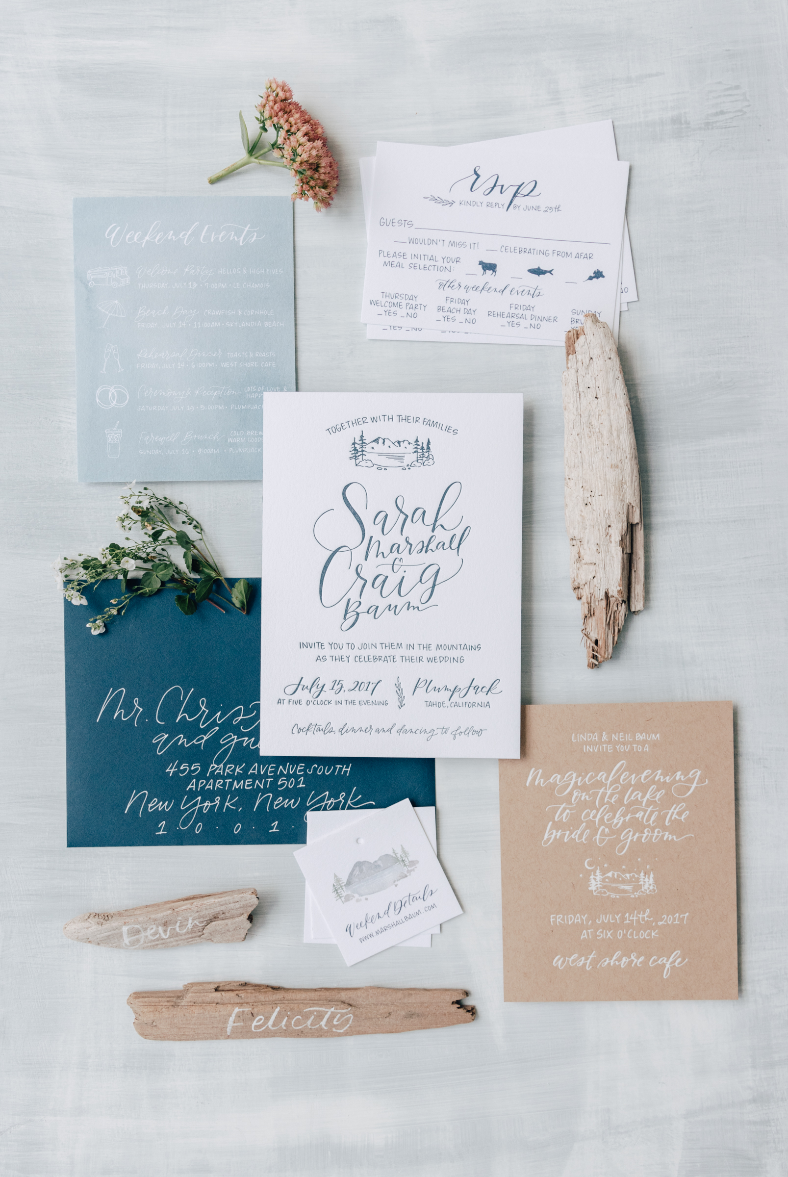 Rustic Lake Tahoe Wedding Invitation