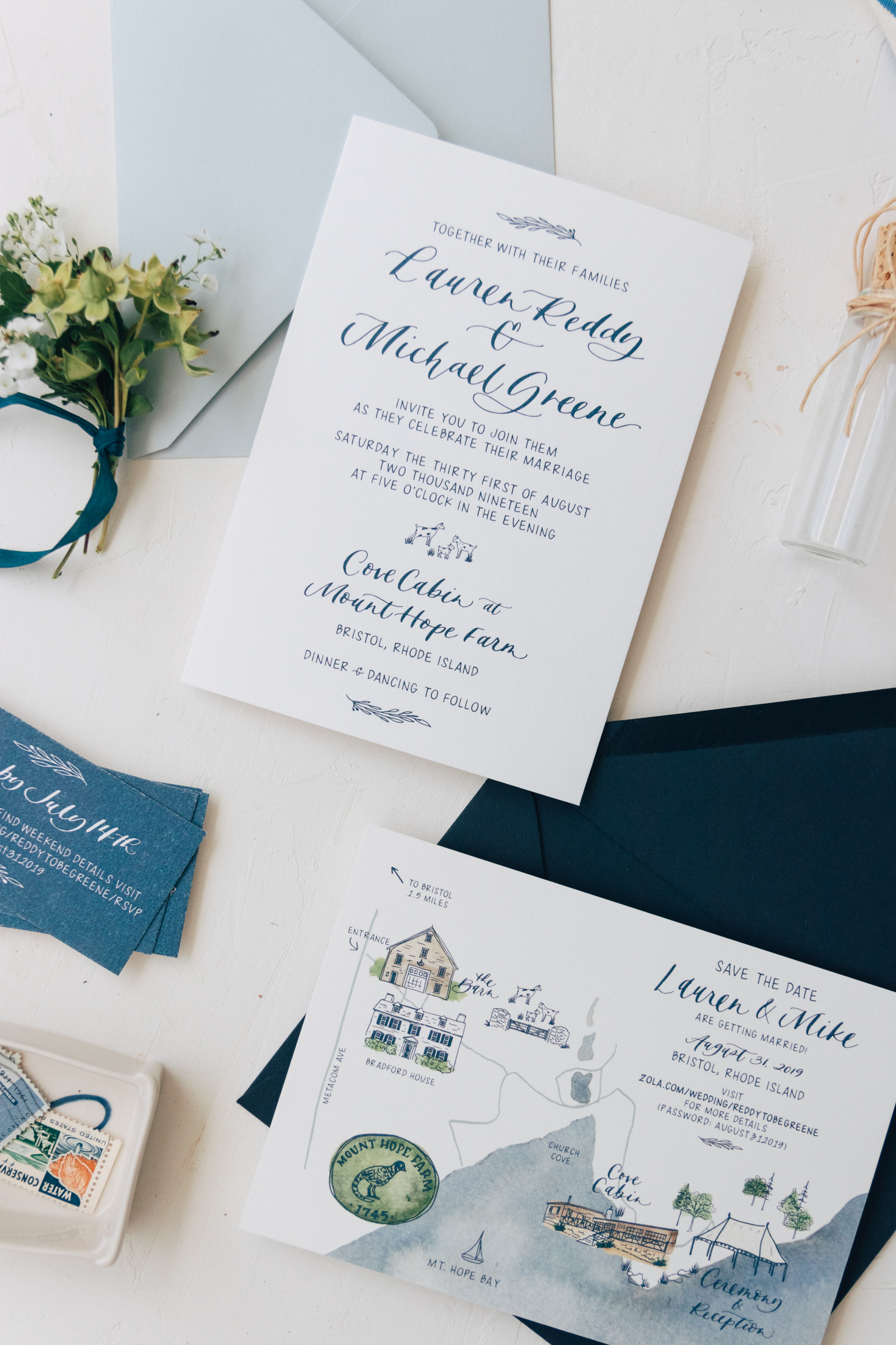 Classic and Fun Navy Wedding Invitation
