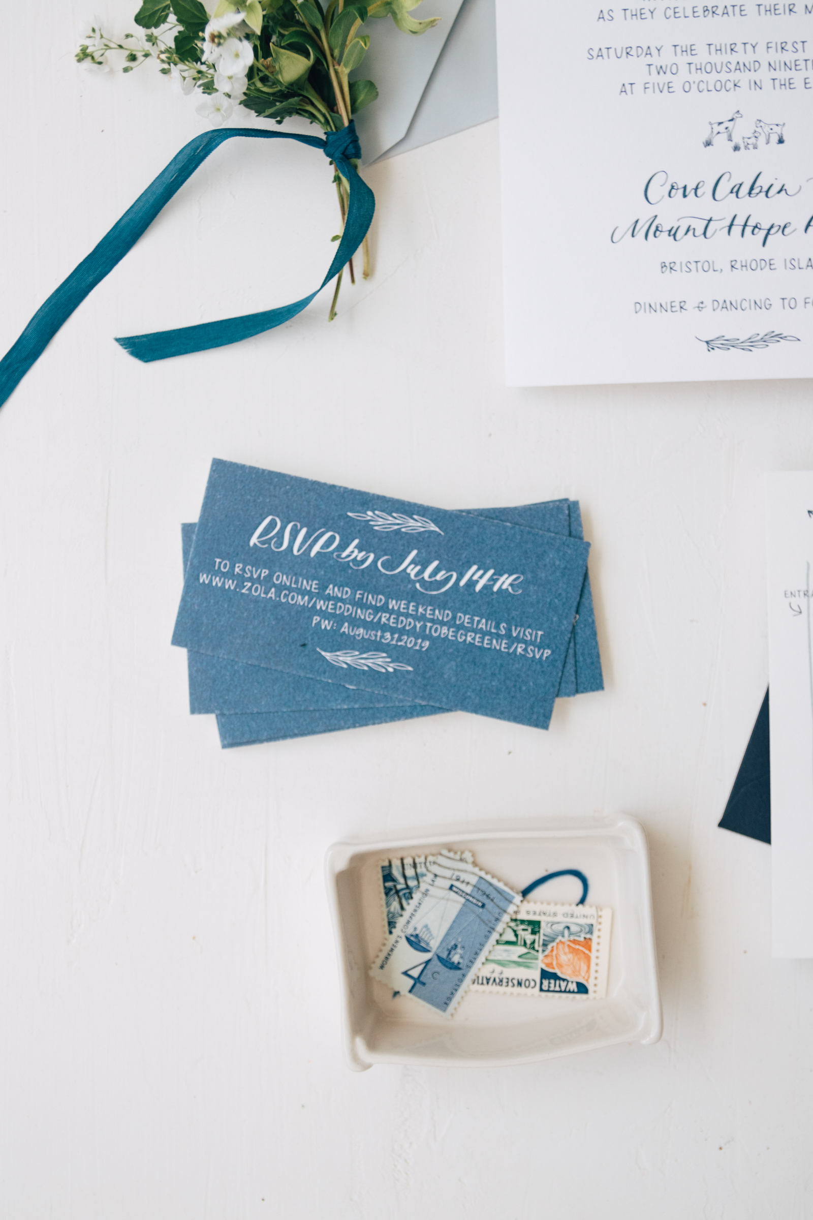 Simple and Classic Navy Reply Card