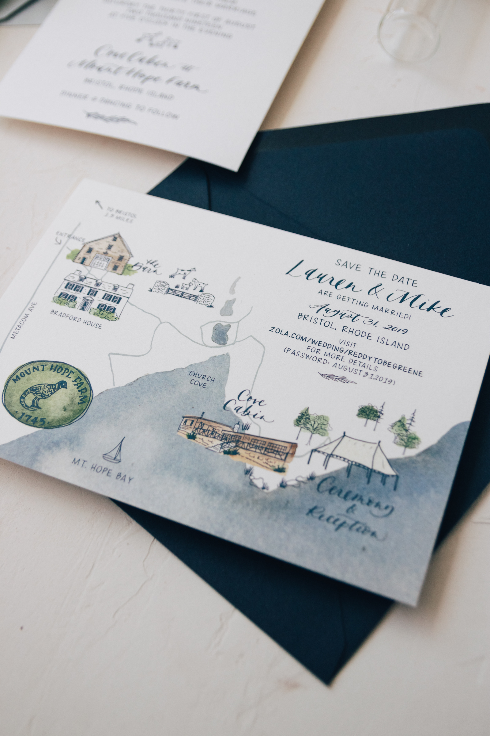 Watercolor Wedding Map for a Mt. Hope Bay Rhode Island Wedding