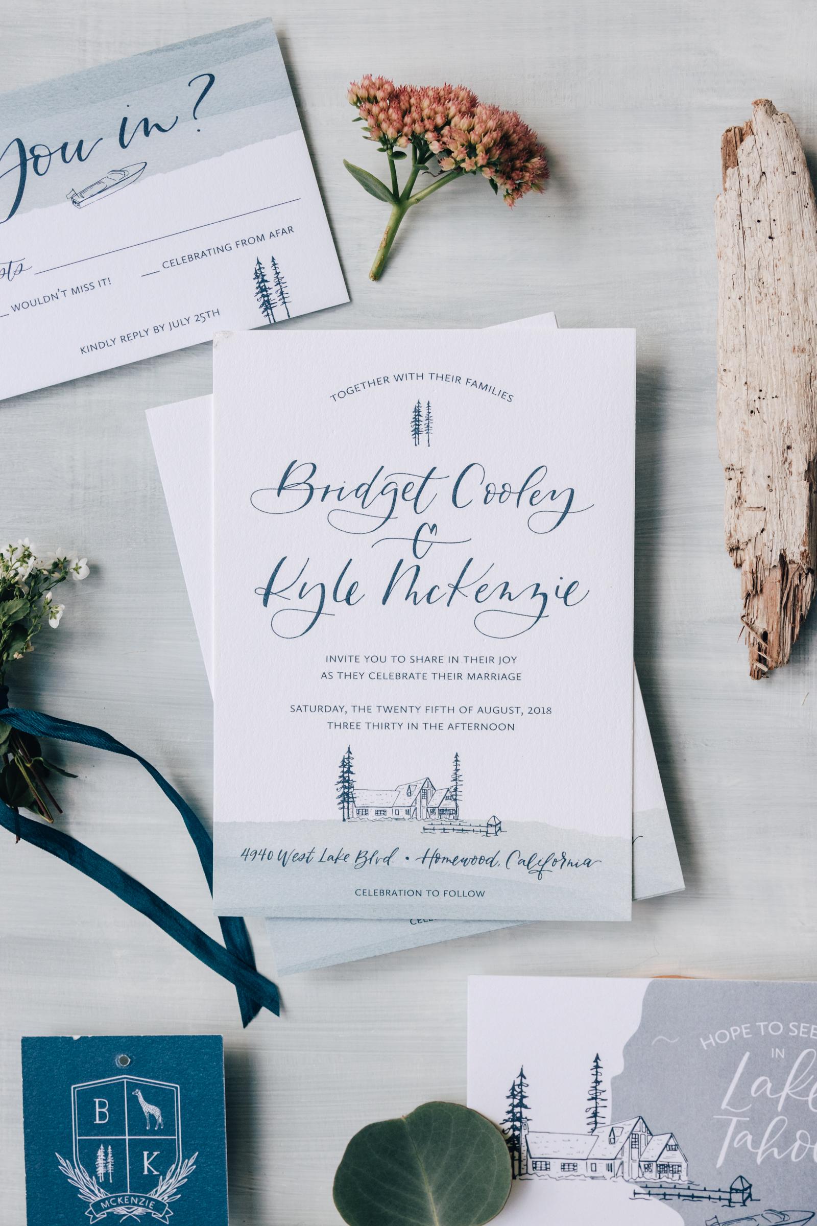 Casual Lake Tahoe Wedding Invitation