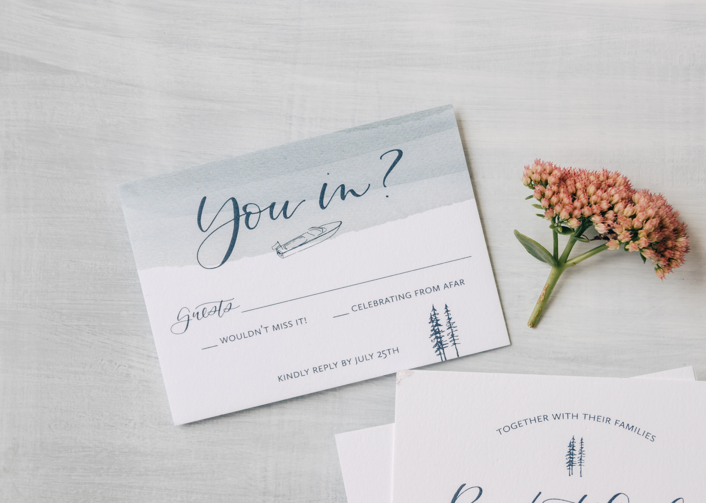 Unique RSVP Card Wording with Watercolor and Illustration
