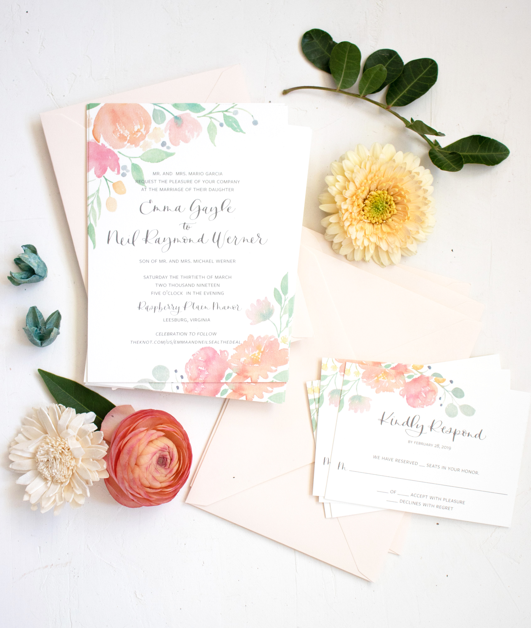 Watercolor Floral Invitation for a Spring Wedding