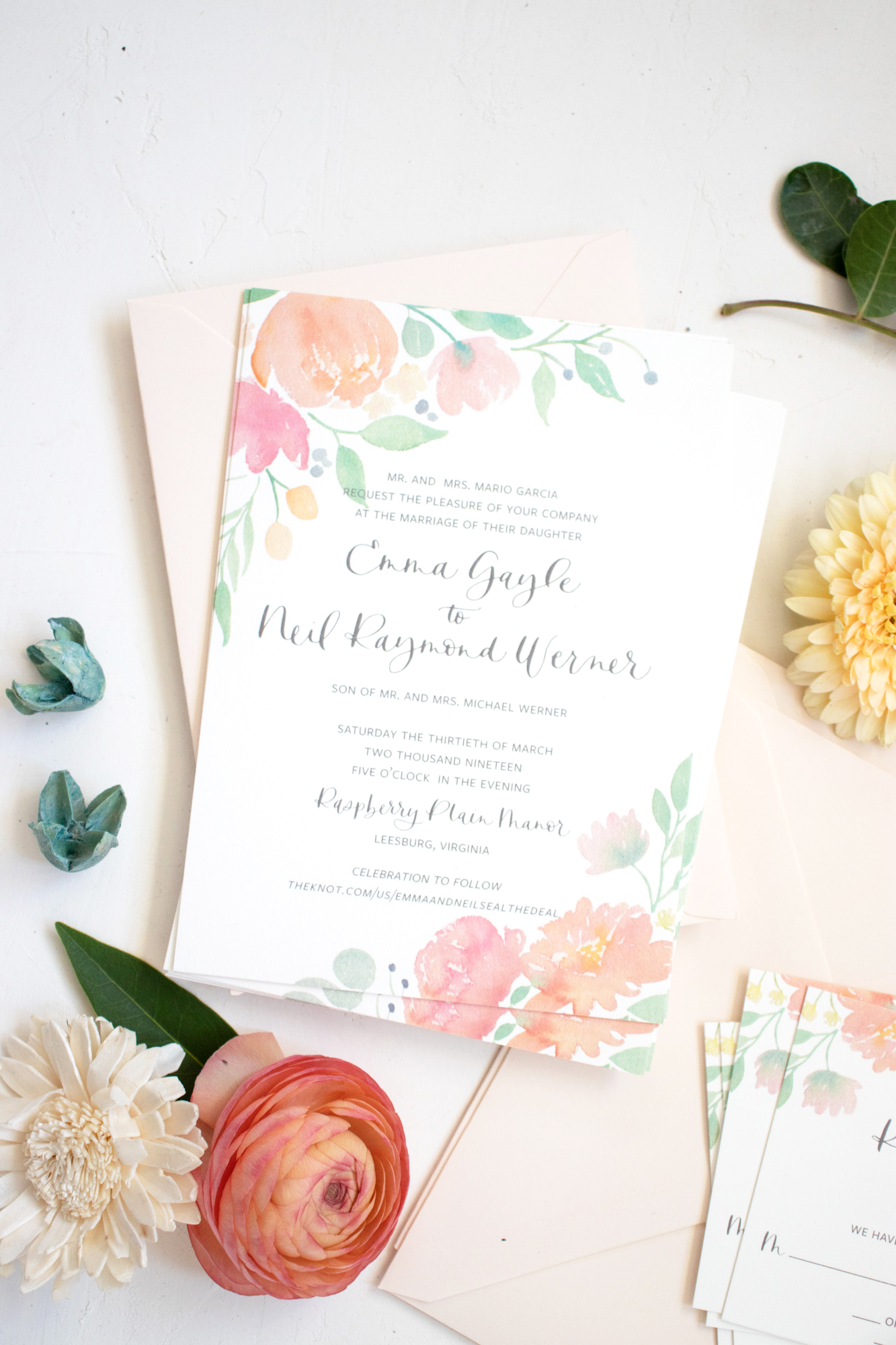 Watercolor Floral Wedding Invitation for a Spring Wedding