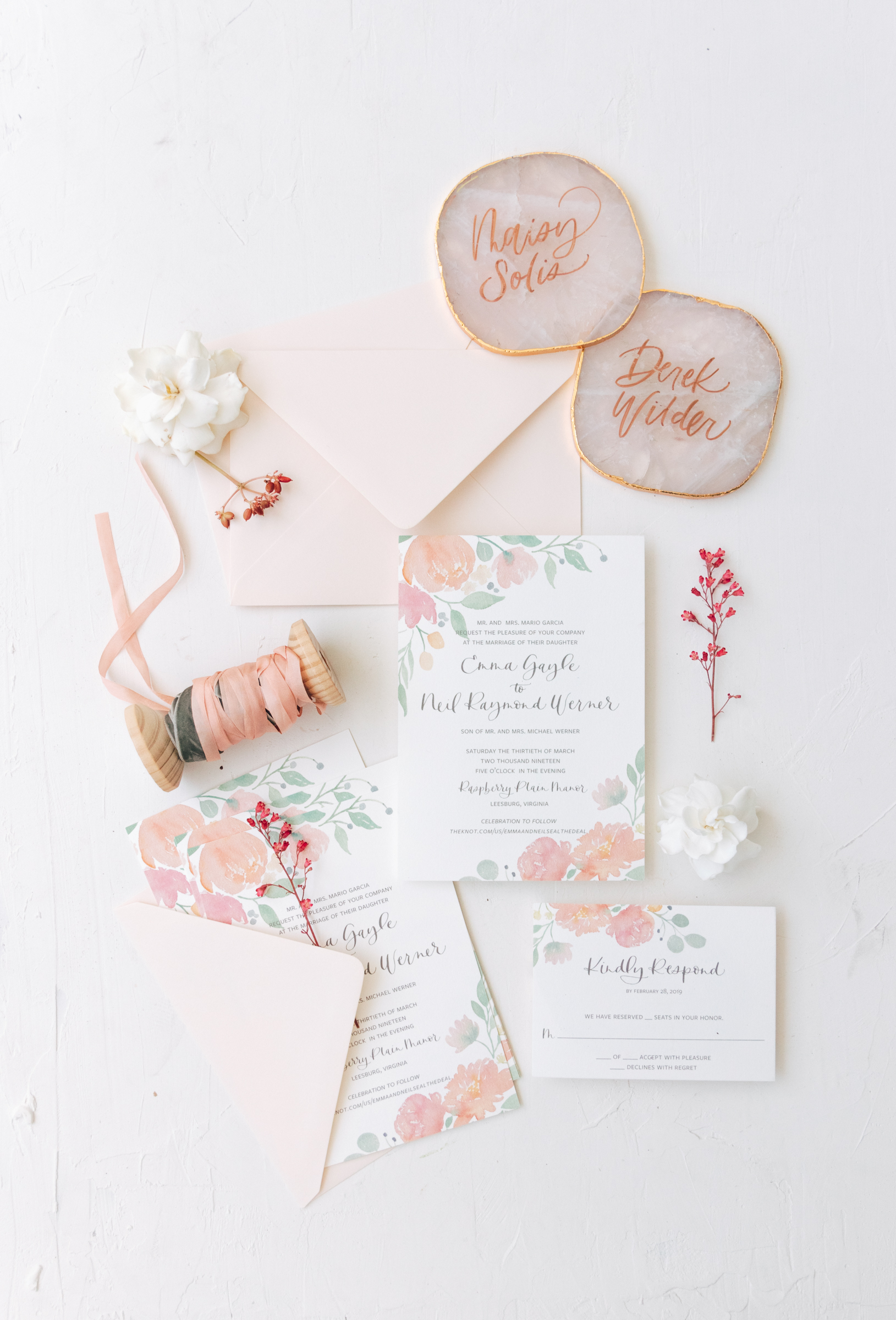Spring Watercolor Floral Wedding Invitation
