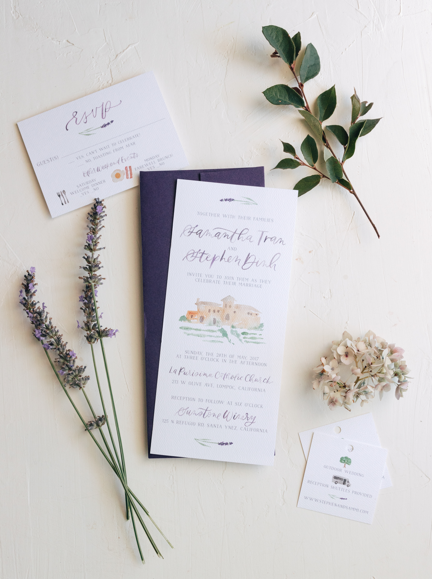 Romantic Watercolor Venue and Lavender Wedding Invitation