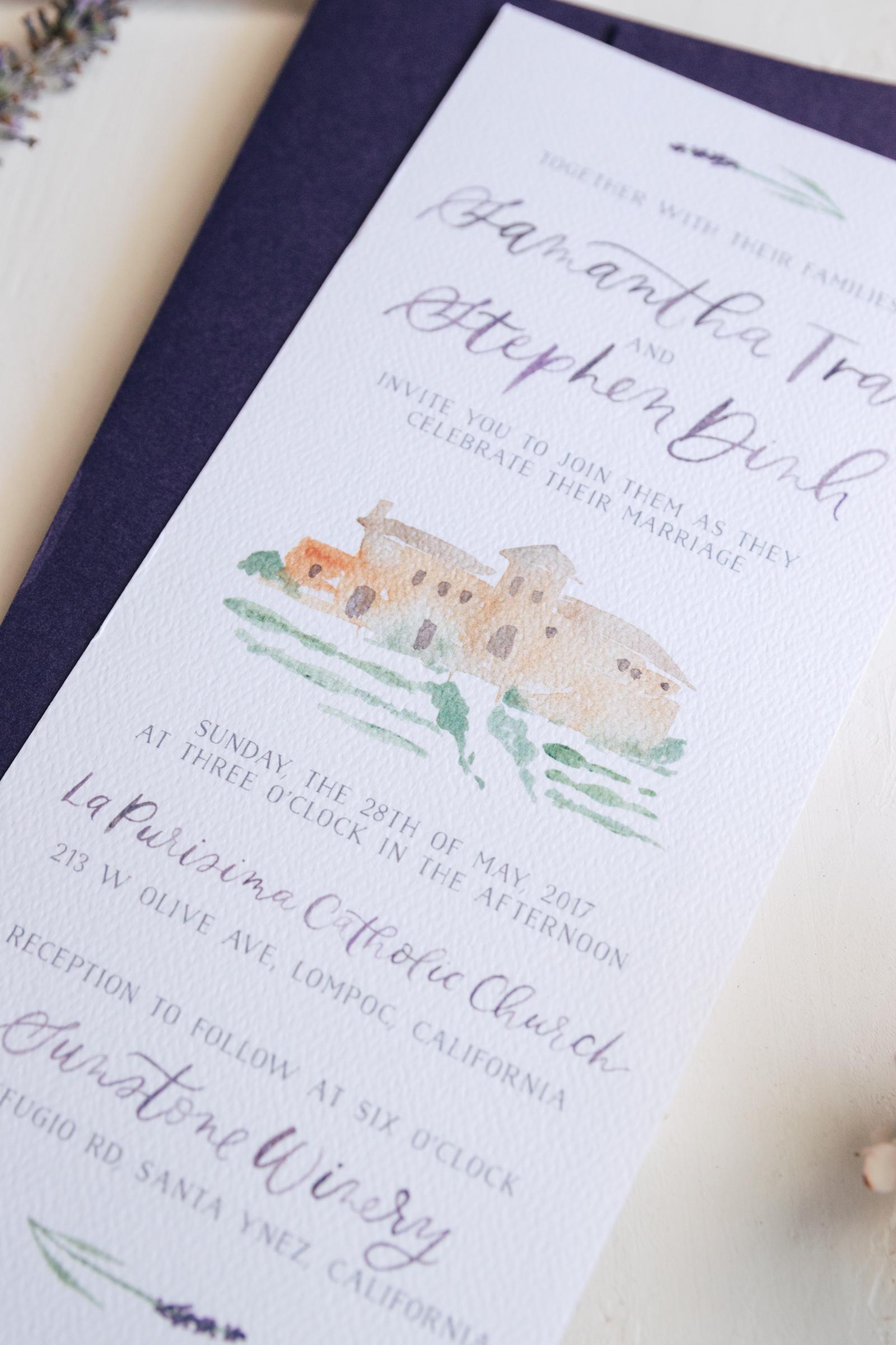 Watercolor Venue Painting Wedding Invitation