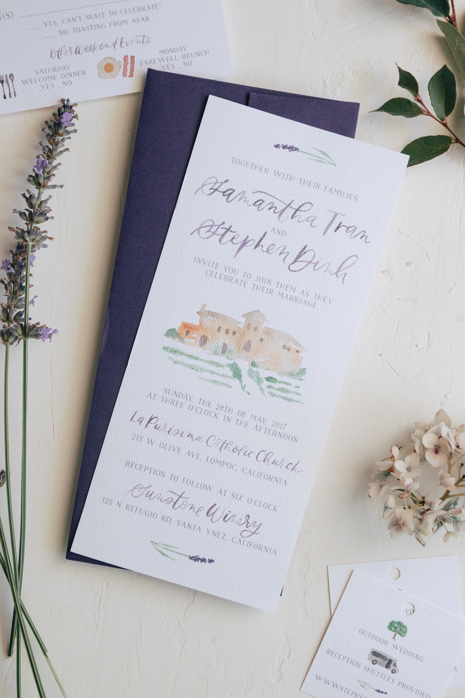 Romantic Lavender Wedding Invitation