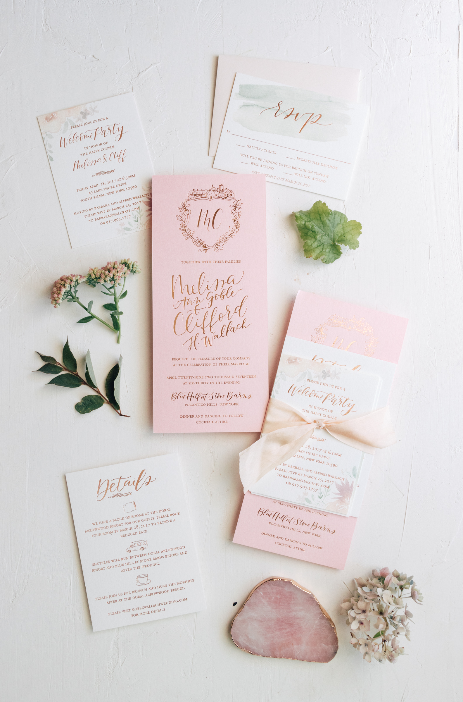 Romantic Wedding Invitation Suite with Copper Foil Crest