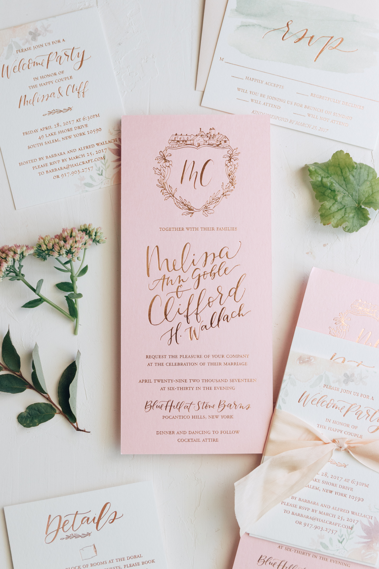 Feminine Pink Wedding Invitation with Illustrated Crest