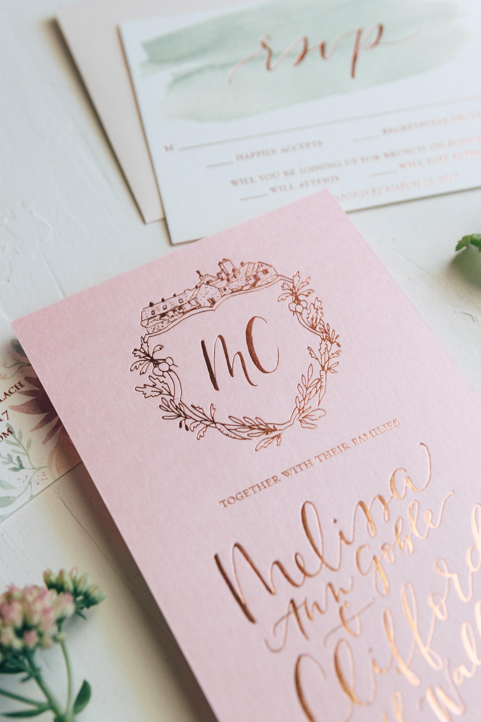 Unique Wedding Crest with Venue Illustration