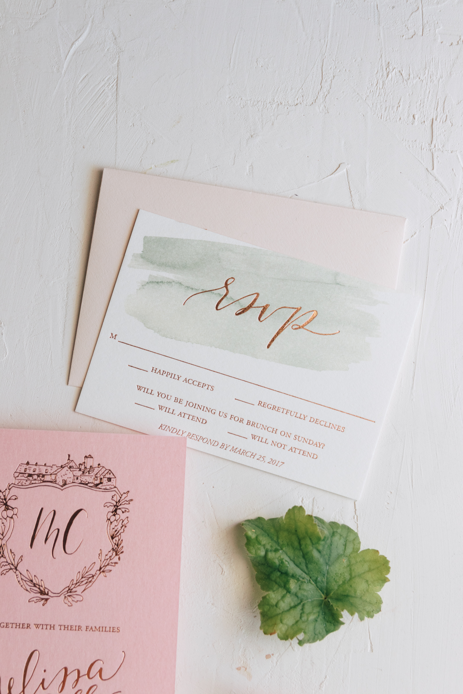 Watercolor and Foil Reply Card
