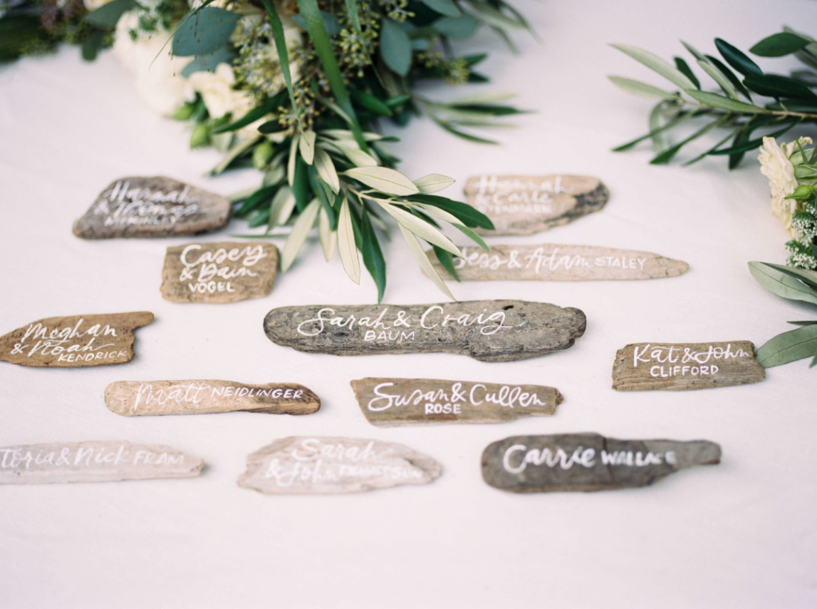 Driftwood place cards for Lake Tahoe wedding