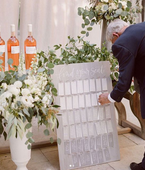 Ombre Grey Escort Card Display for Sonoma Wedding