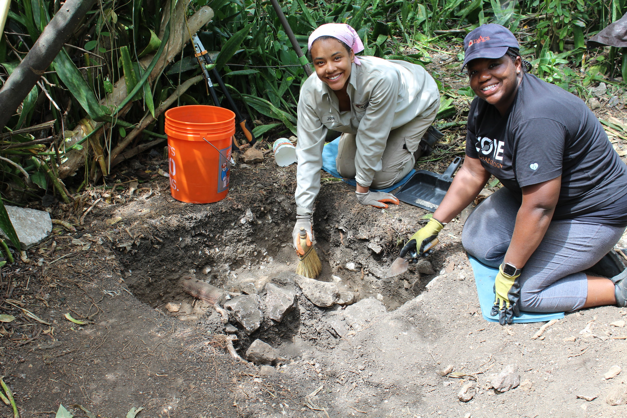 Dr. Alicia Odewale, assistant professor at the Tulsa University, and Jewel Humphrey, undergraduate student from Howard University excavating at the Estate Little Princess.
