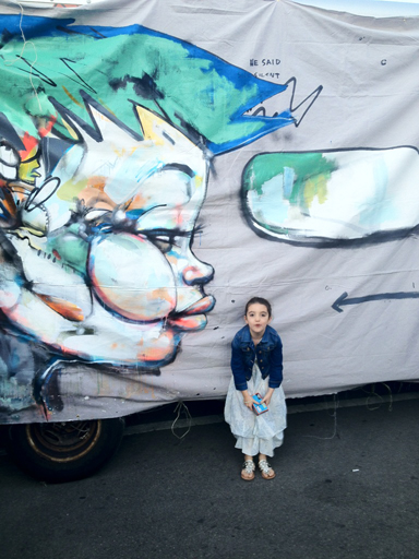 "Hebru Brantley's ""mural canvas""  installed on Kasia Kay Art Project's truck."