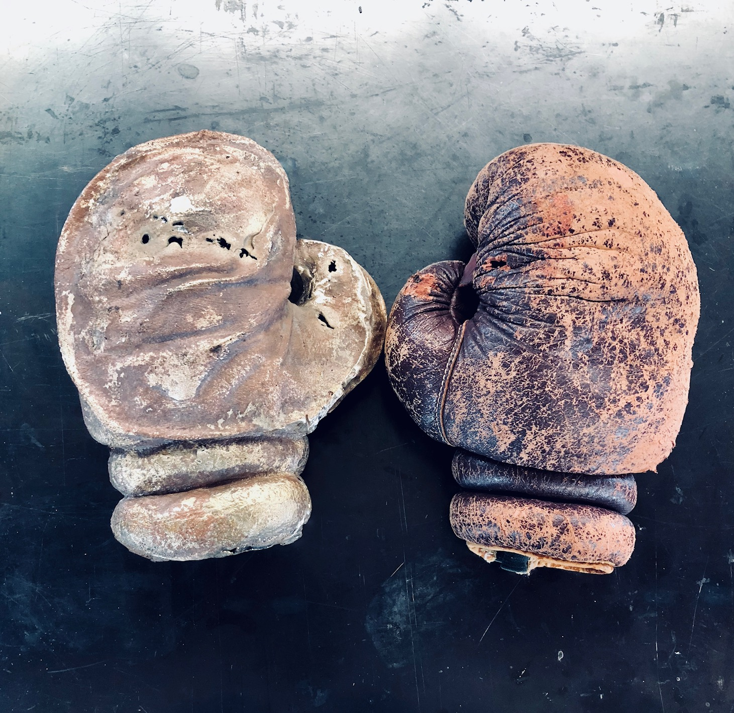 "Untitled    Bronze (left) and Leather glove (right)   2018  10"" h x 15"" w x 4"" d"