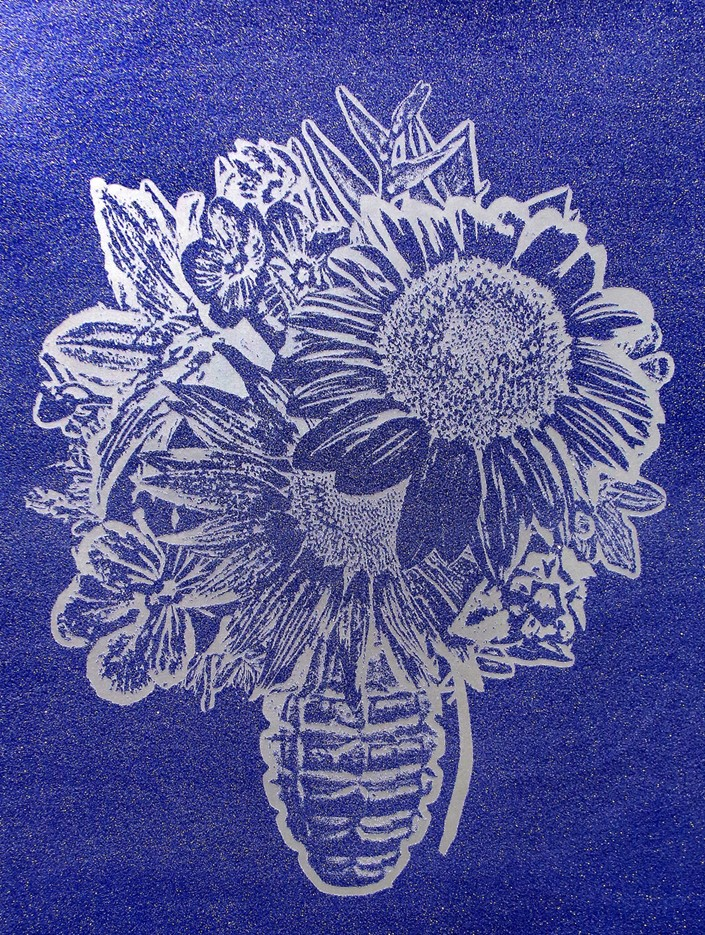 Flower Vase Silver on Blue , SilkScreen/Hand Painting/DiamondDust, Ed.: 3, 56 x 42 in, 2016