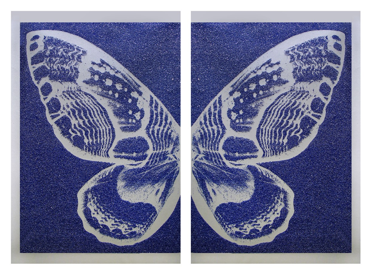 Hybrid Diptych Silver Butterfly I on Blue , SilkScreen/Hand Painting/DiamondDust, Ed.: 3, 53 x 34 in, overall 53 x 68 in, 2016.