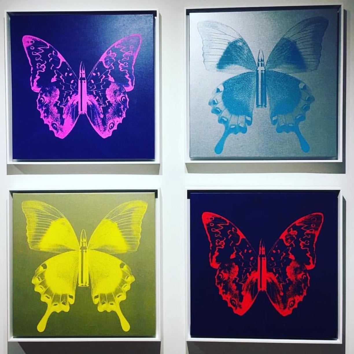 Butterflys , SilkScreen/Hand Painting/DiamondDust, Ed.: 5, 24 x 24 in. each, 2016.