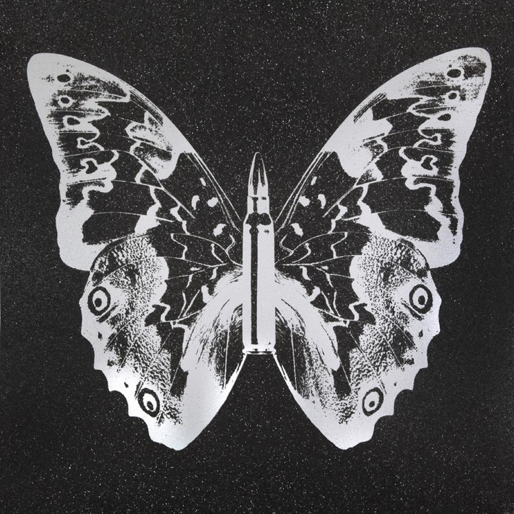 Silver Butterfly on Black II , SilkScreen/Hand Painting/DiamondDust, Ed.: 5, 38 x 38 in, 2013.