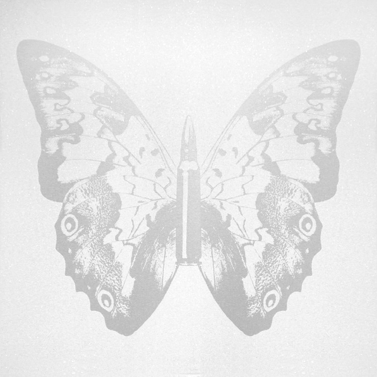 Silver Butterfly on White II , SilkScreen/Hand Painting/DiamondDust, Ed.: 5, 38 x 38 in, 2013.