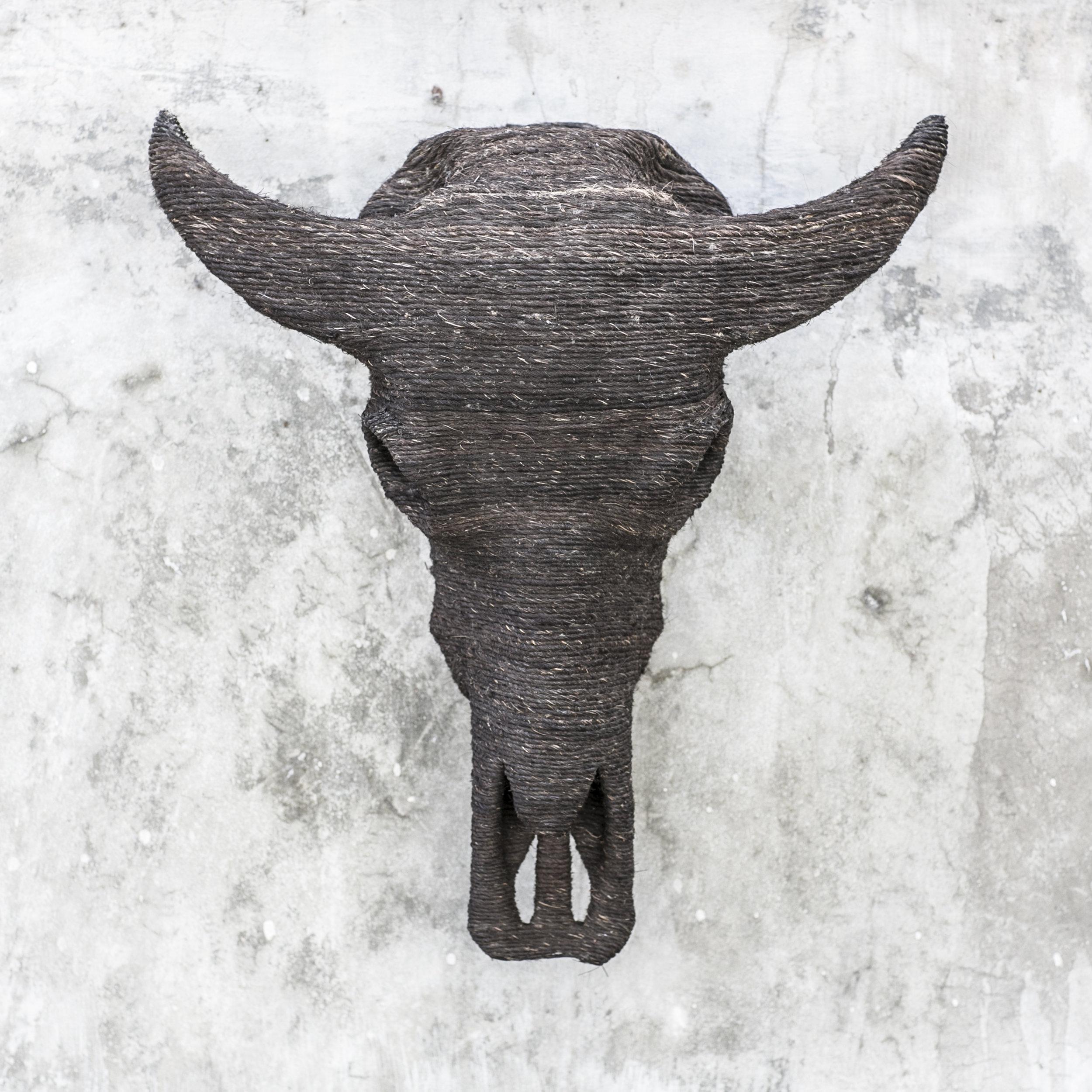 """Kerbau Ijuk  , Water Buffalo Skull/Palm Fiber Rope 17.25"""" W, 8"""" D, 18.5"""" H"""