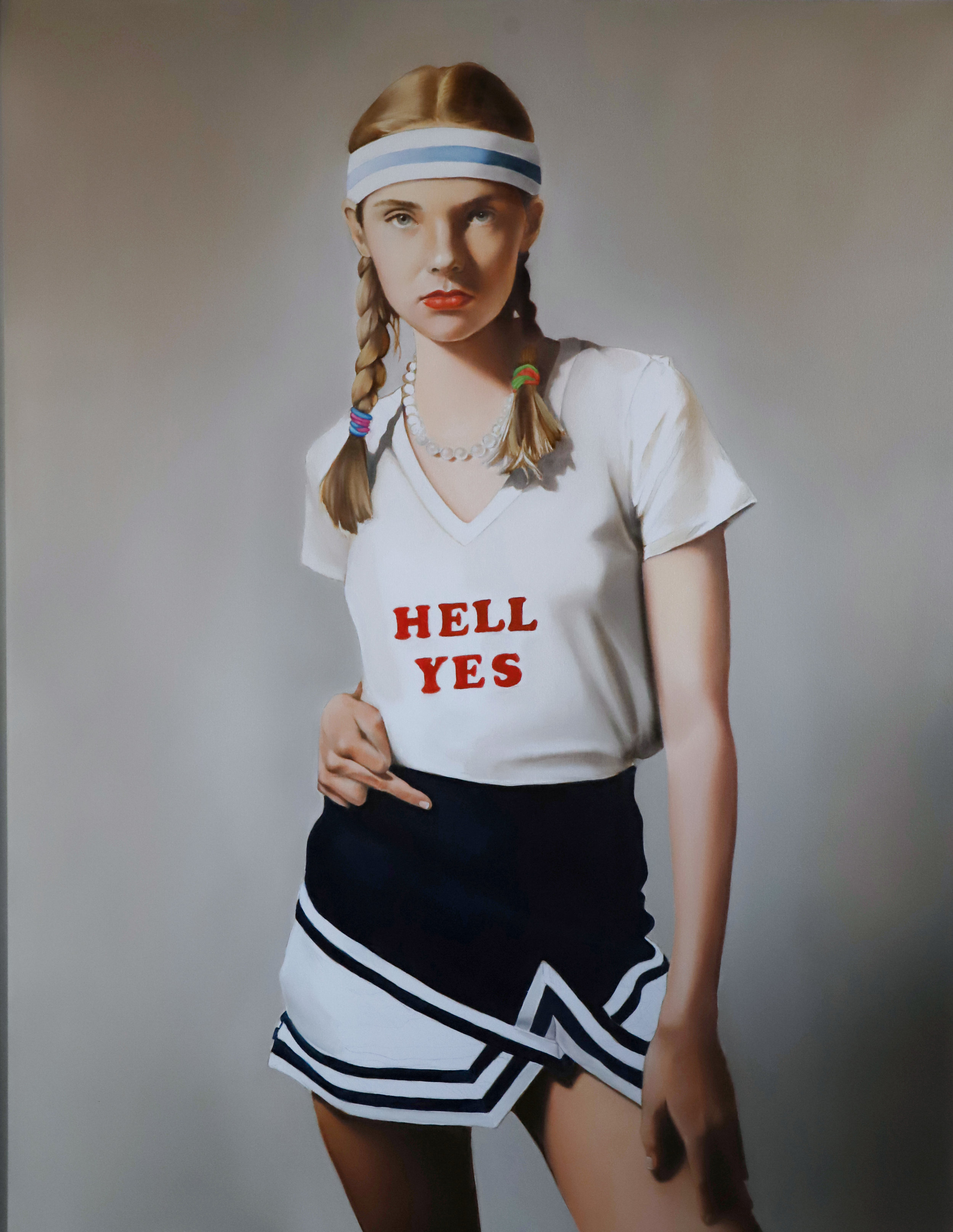"""Tara Lewis   HELL YES, 2019    Oil on Canvas   48""""Wx60""""H"""