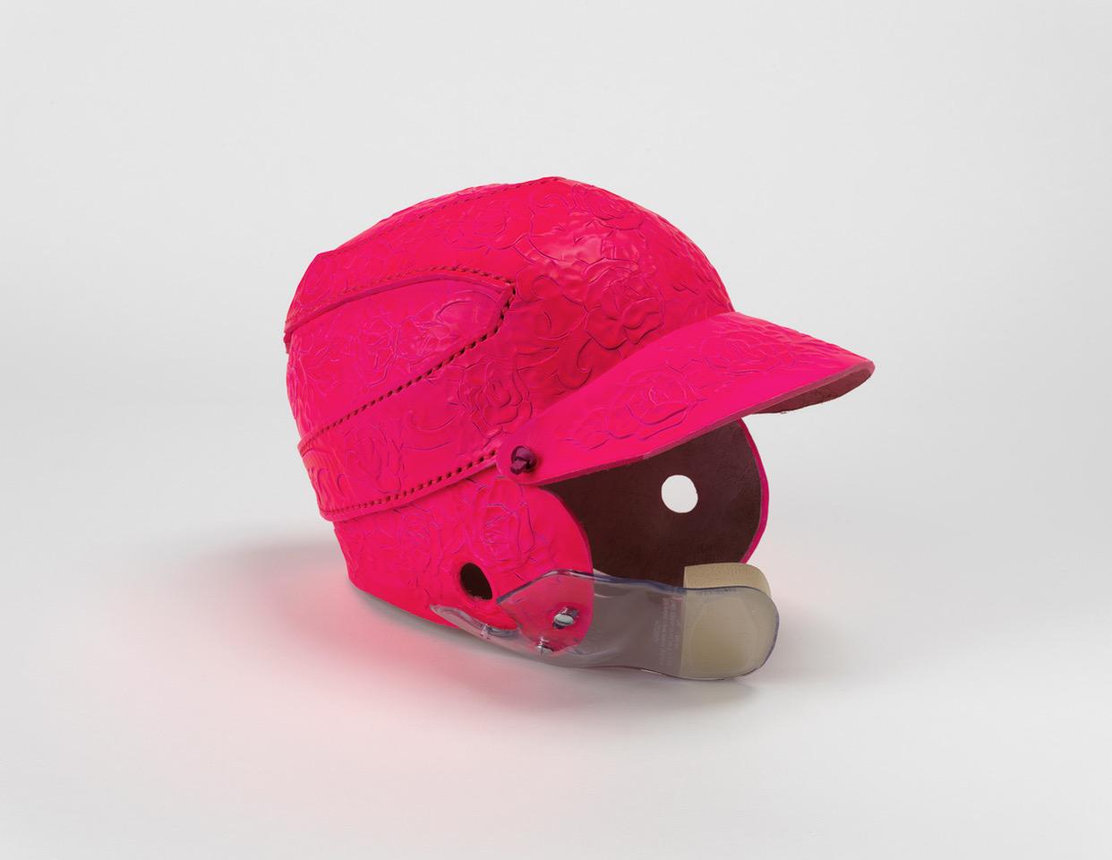 "Bulldog 27: Softball Helmet  2018  12 x 12 x 9""  Leather, paint, c-flap"