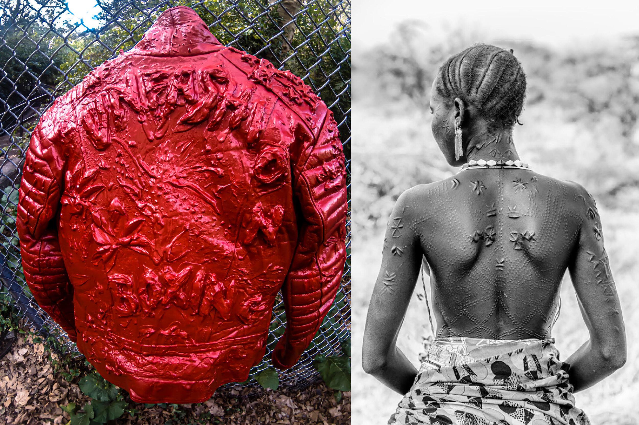 (L) Sculptural leather jacket by Mimi Plange.    (R) scarification inspiration; a photograph by Trevor Cole.