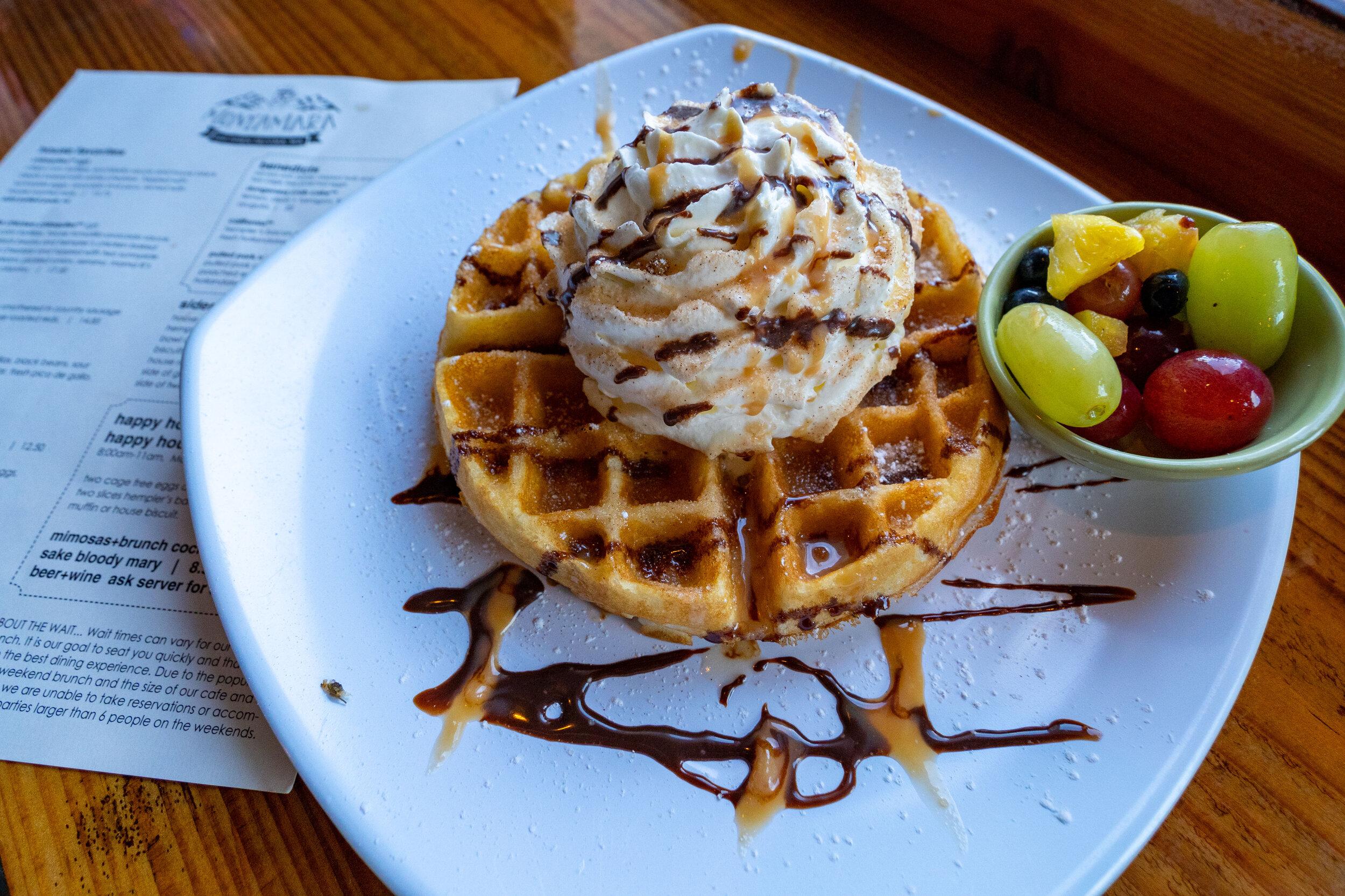 Special Churro Belgian Waffle at Montamara Kitchen.jpg