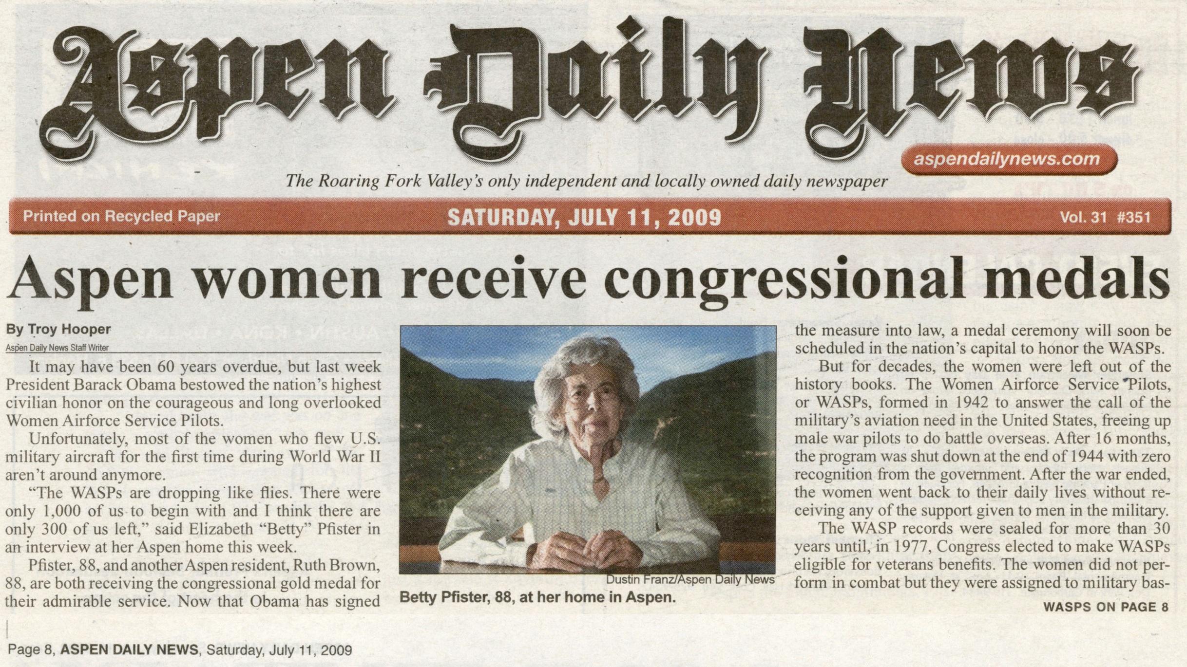 Aspen women receives congressional medals
