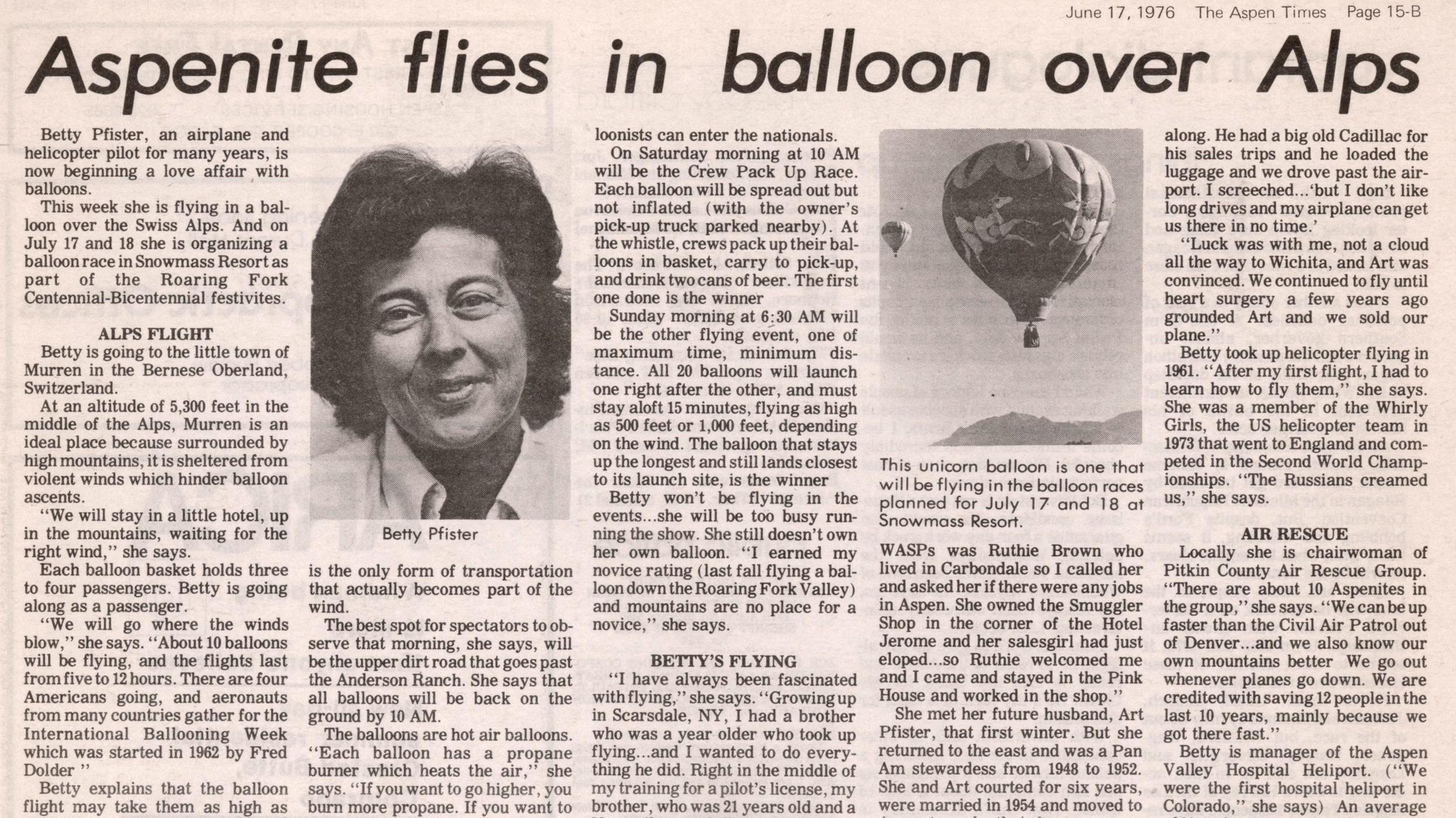 Aspenite flies balloon over Alps
