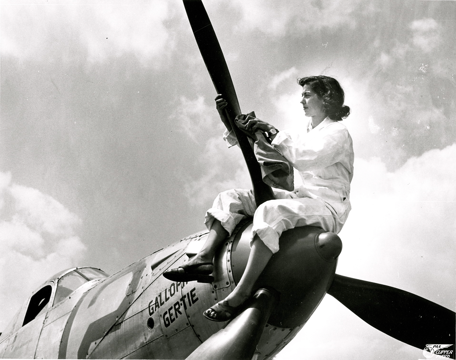 Betty Haas Pfister and her Bell 47 Aircobra fighter plane  Galloping Gertie.
