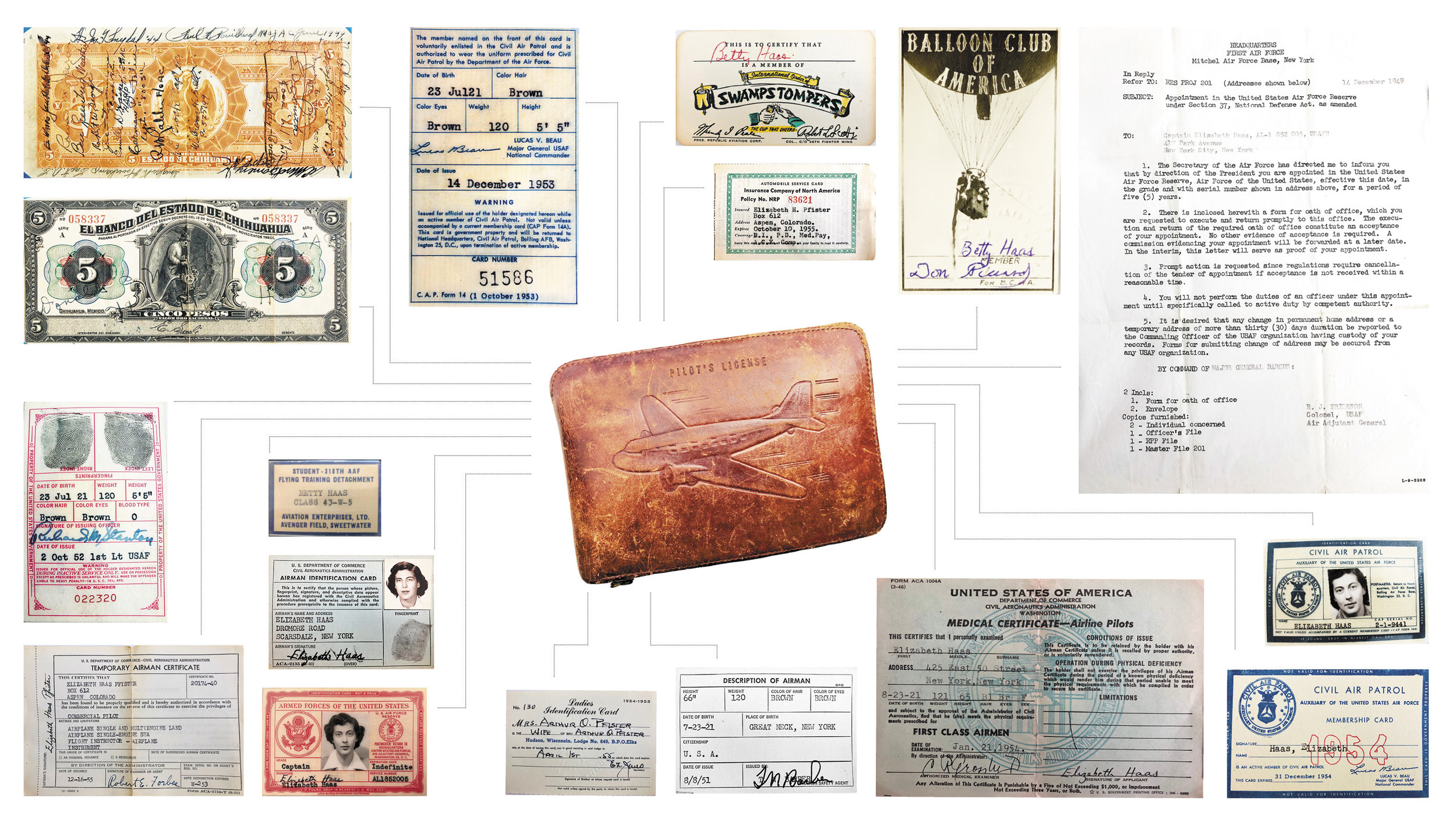 The complete contents of Betty's pilot wallet exposed.