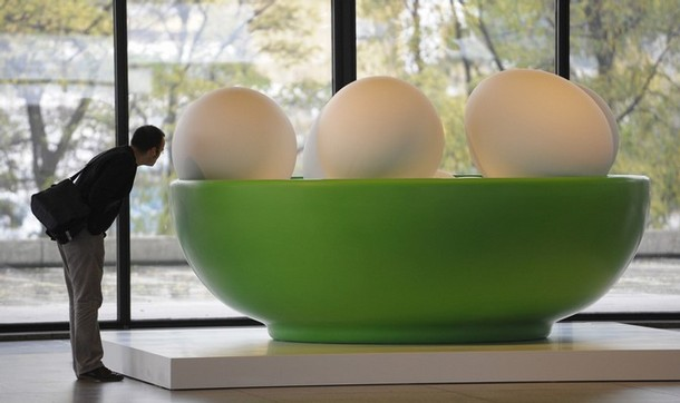 Jeff Koons  Bowl with Eggs (Green) 1994-2008  Rotationally molded polyethylene  72 x 126 x 126 inches      View More Jeff Koons