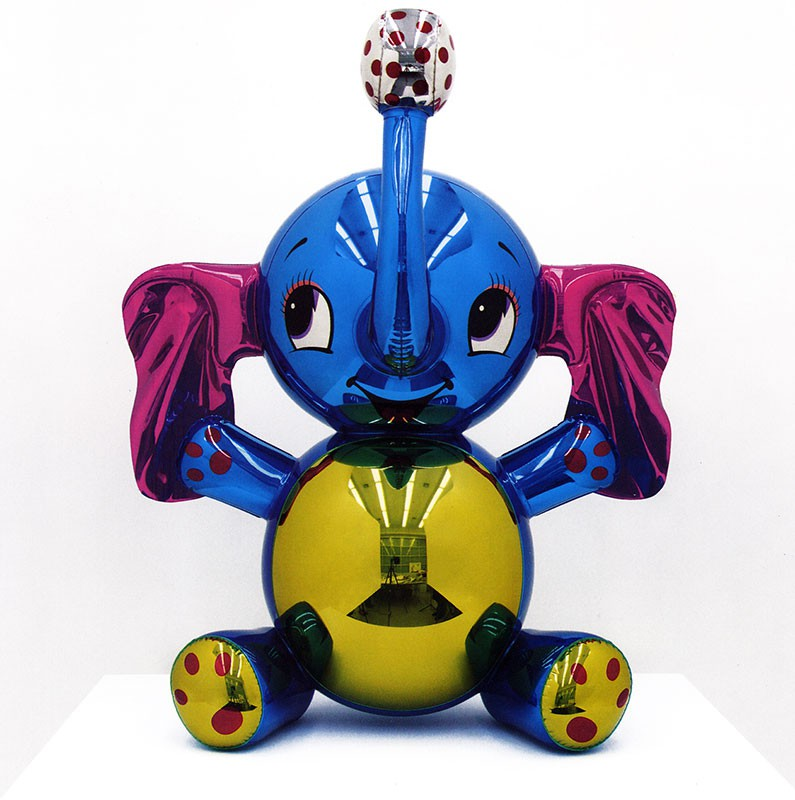 Jeff Koons  Elephant 2003  High chromium stainless steel with transparent color coating  38 x 30 x 20 inches      View More Jeff Koons