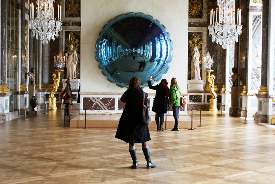 Jeff Koons  Moon (Light Blue) 1995-2000  High chromium stainless steel  130 x 130 x 40 inches      View More Jeff Koons