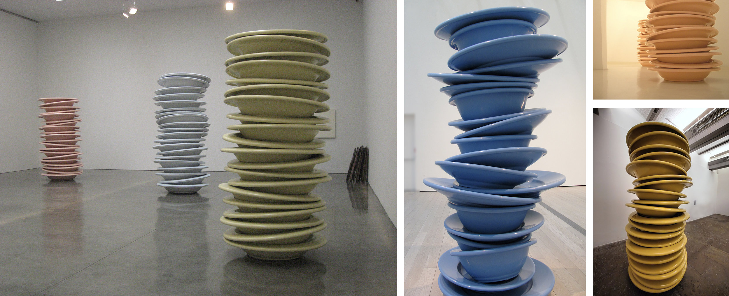 Robert Therrien  Stacked Plates 2004  94 x 54 x 54 inches  Plastic      View More Robert Therrien