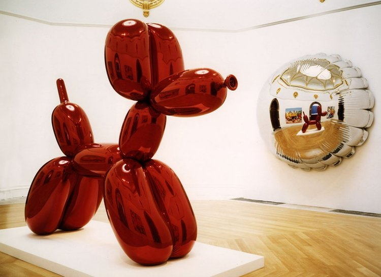 Jeff Koons  Balloon Dog (Red) 1994-2000  High chromium stainless steel with transparent color coating  121 x 143 x 45 inches      View More Jeff Koons