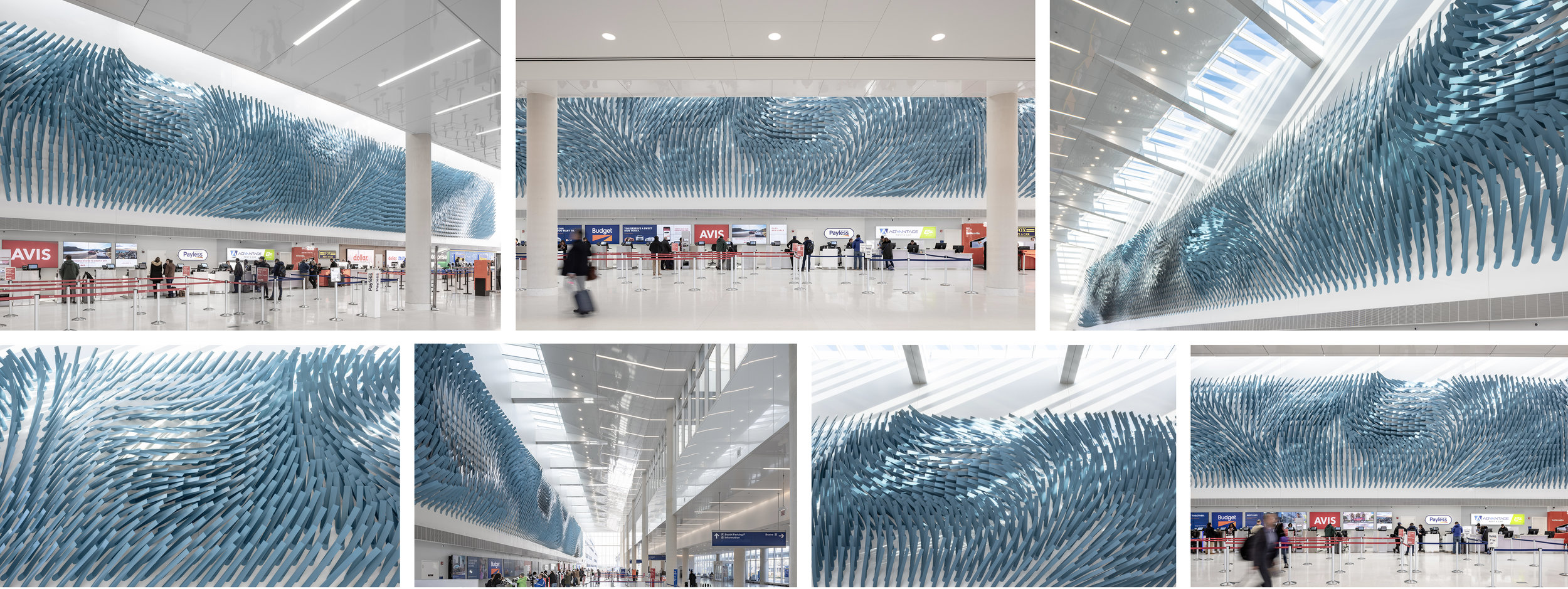 Rob Ley  Field Lines     2018  Painted aluminum  294 x 25 x 2.5 feet  O'Hare Airport Transportation Hub  Chicago, Illinois  Photographer: Alan Tansey      View More Rob Ley