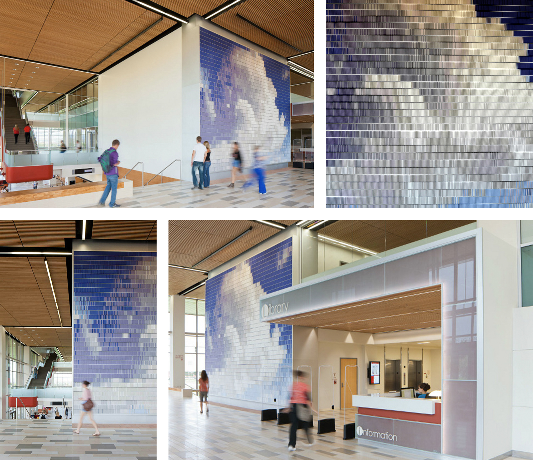 Christian Moeller  Cloud 2012 Custom extruded aluminum shelves holding 12,000 books 22 x 28 feet    View More Christian Moeller