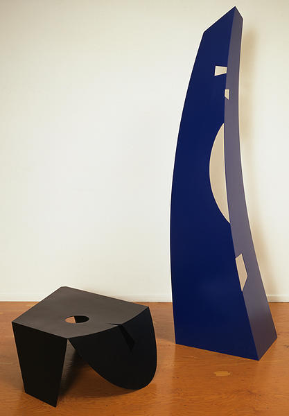 Isamu Noguchi  Black and Blue 1980  2-part painted aluminum  13 x 48 x 34 inches     View More Isamu Noguchi